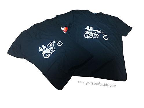 camisetas negras para pareja de motos