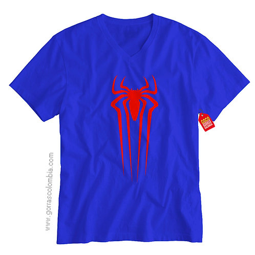 camiseta azul de superheroes spiderman