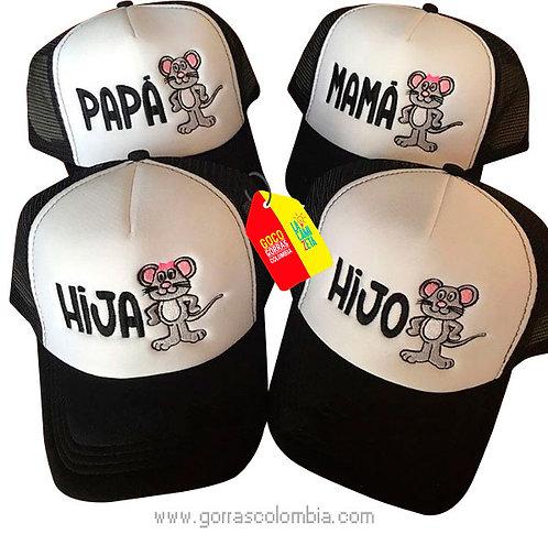 gorras negras frente blanco para familia ratón papas e hijos