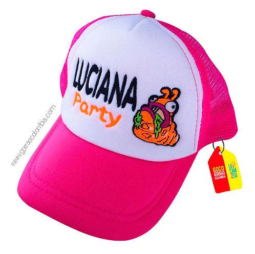 gorra fucsia frente blanco para niña party