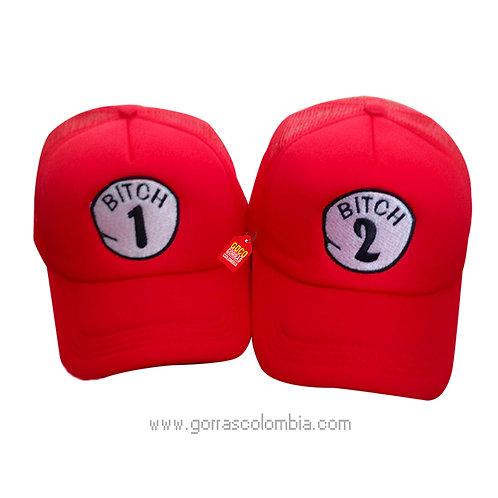 gorras rojas unicolor para pareja bitch