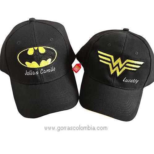 gorras negras unicolor para pareja batman y mujer maravilla