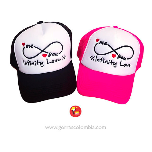 gorras negra y fucsia frente blanco para pareja infinity love