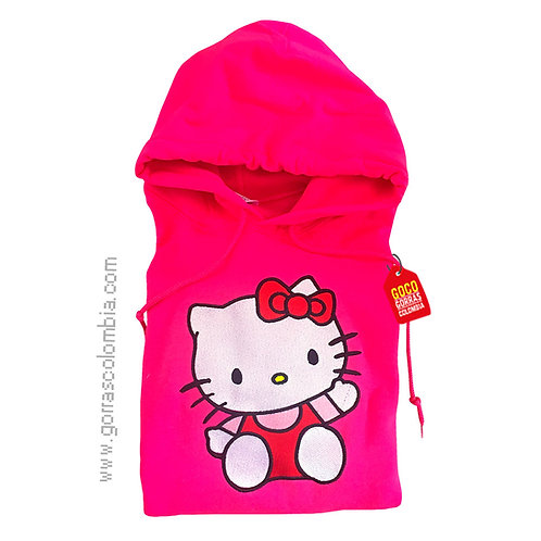 buso fucsia con capota para niña de hello kitty