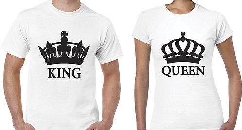 camisetas blancas para pareja king y queen