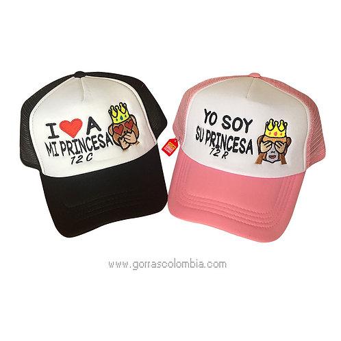 gorras negra y rosada frente blanco para pareja princesa