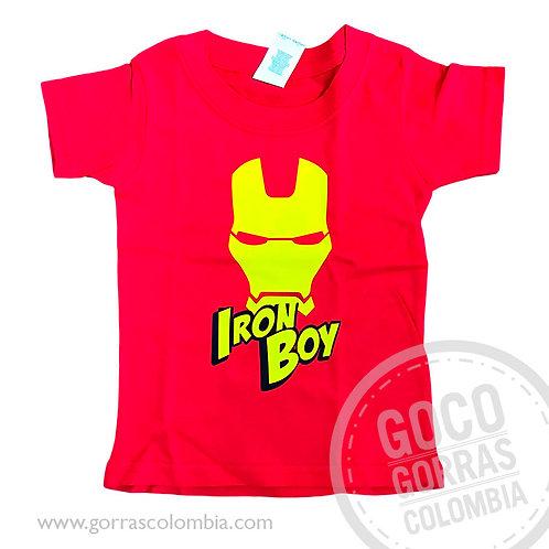 camiseta roja para niño iron boy