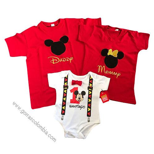 camisetas rojas y blanca para familia de mickey