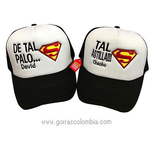 gorras negras frente blanco para familia de tal palo tal astilla superman