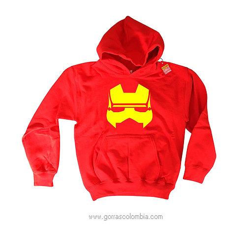 buso rojo con capota para niño iron man