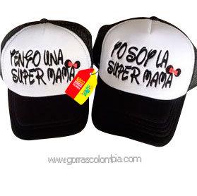 gorras negras frente blanco para familia super mamá
