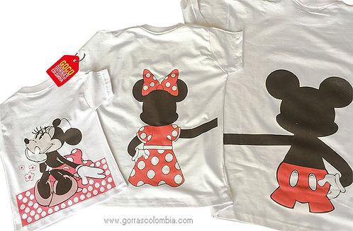 camisetas blancas para familia mickey de espalda