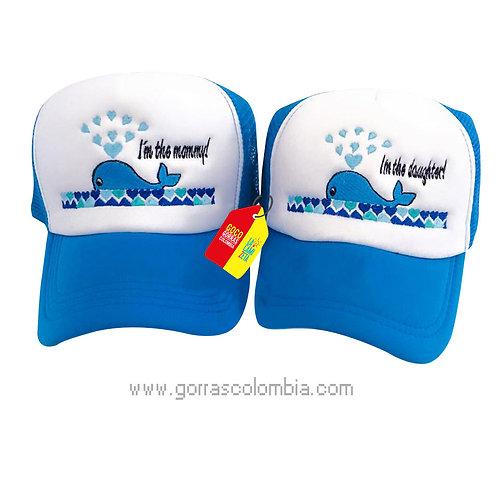 gorras azules frente blanco para familia ballena
