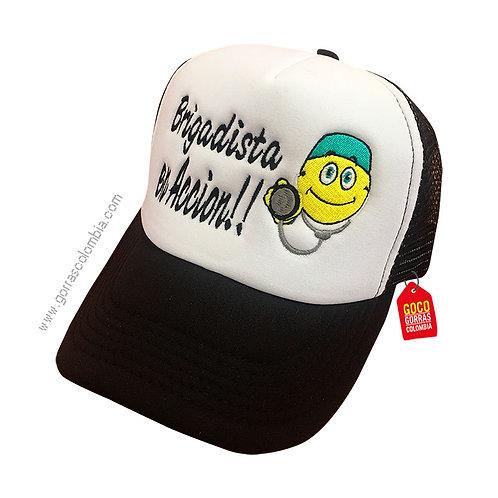 gorra negra frente blanco personalizada brigadista emoji