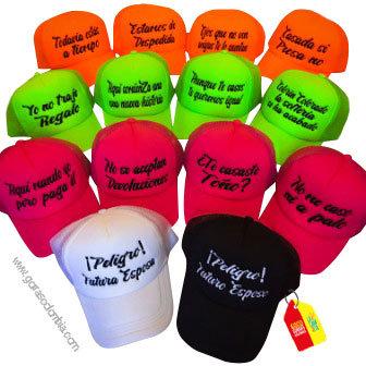 gorras varias unicolor para fiesta peligro futuros esposos