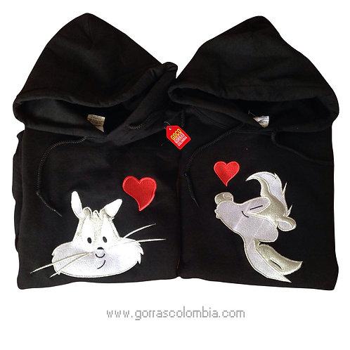 busos negros con capota para pareja zorrillo pepe y gata