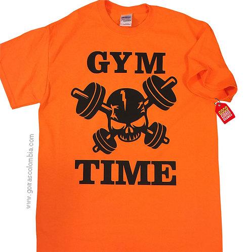 camiseta naranja personalizada gym time