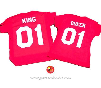 camisetas rojas para pareja king y queen
