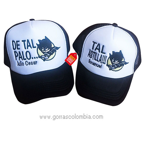 gorras negras frente blanco para familia de tal palo tal astilla batman