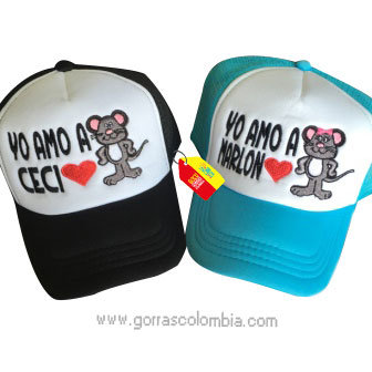 gorras negra y azul frente blanco para pareja yo amo a ratones