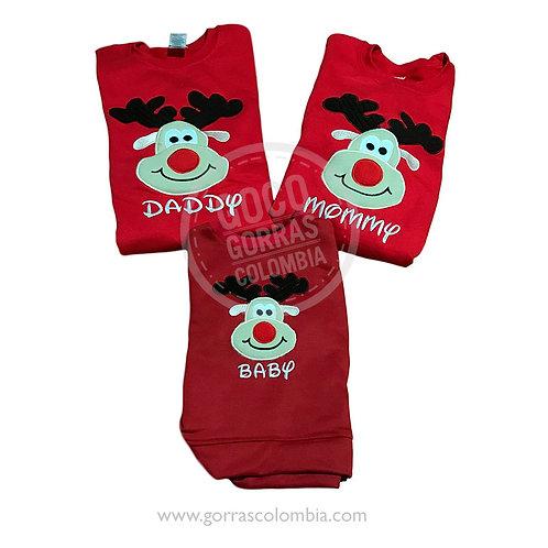 busos rojos para familia reno rudolf daddy mommy baby