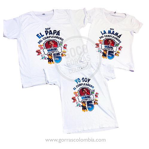 camisetas blancas para familia patrulla canina