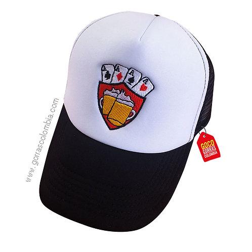 gorra negra frente blanco personalizada cartas de poker