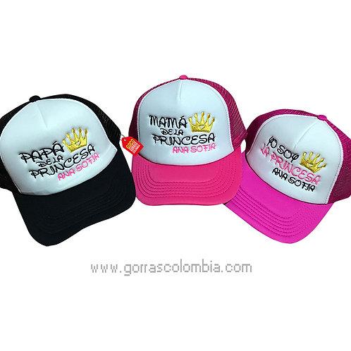 gorras negra y fucsia frente blanco para familia corona princesa