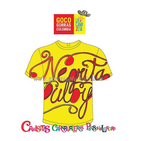 camiseta amarilla carnaval de barranquilla negrita pulby