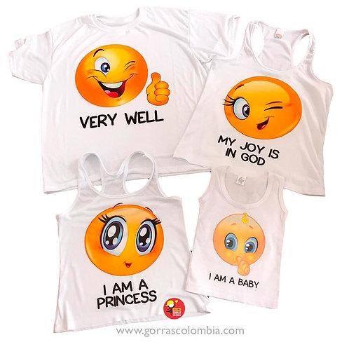 camisetas blancas para familia emoji
