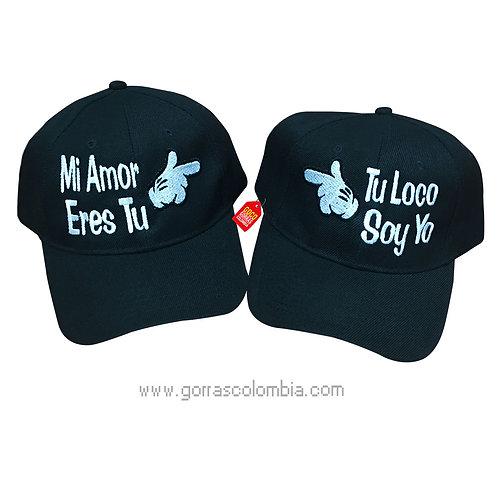 gorras negras unicolor para pareja mi amor eres tu guantes