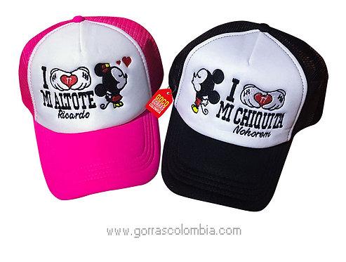 gorras negra y fucsia frente blanco para pareja chiquita y altote mickey