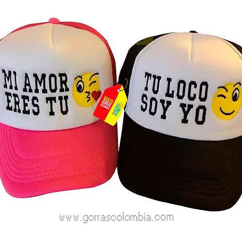 gorras negra y fucsia frente blanco para pareja mi amor eres tu emojic