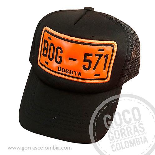 gorra negra personalizada placa vehiculo