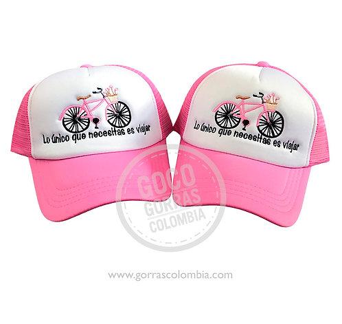 gorras fucsia frente blanco para amigas bici