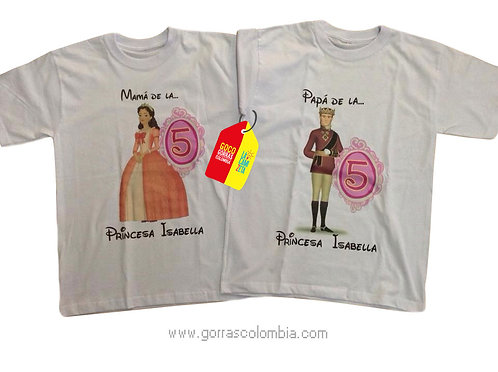 camisetas blancas para familia papas de princesa cumpleaños