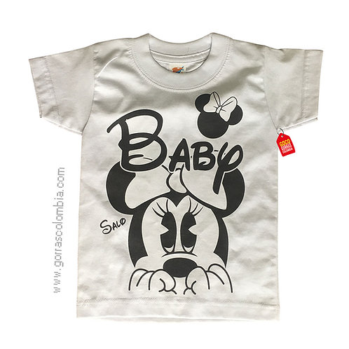 camiseta blanca para niña de minnie baby