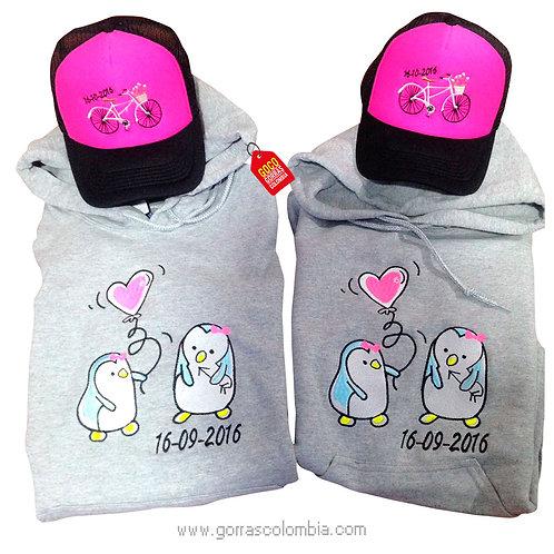 busos y gorras para pareja pinguinos