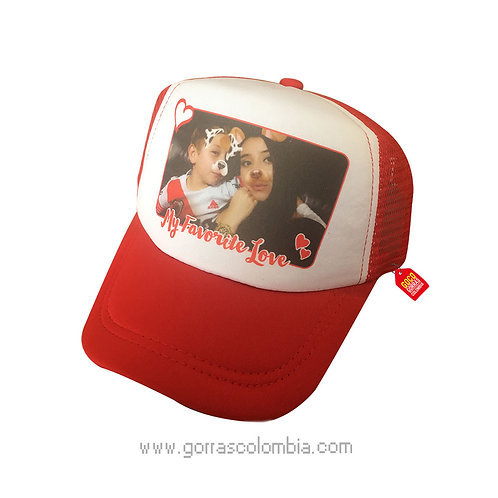 gorra roja frente blanco personalizada my favorite love