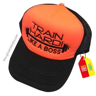 gorra negra frente naranja personalizada train hardi
