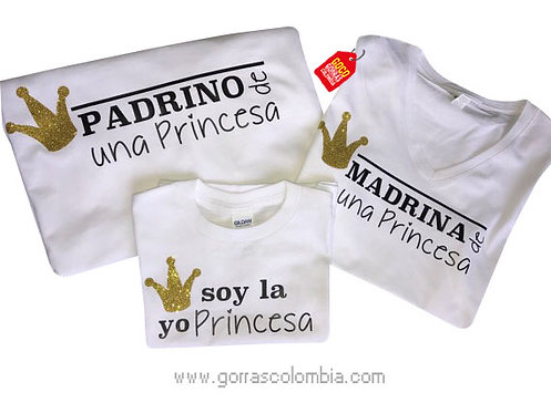 camisetas blancas para familia padrinos de una princesa