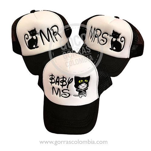 gorras negras frente blanco para familia mr mrs baby gatos