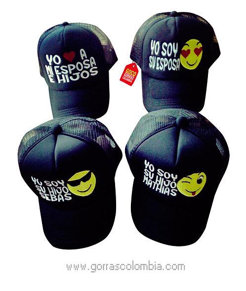 gorras negras unicolor para familia yo amo a mi esposa e hijos