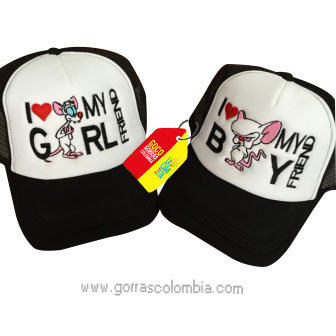 gorras negras frente blanco para pareja pinky y cerebro