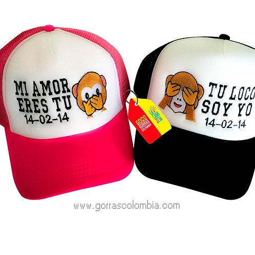 gorras negra y fucsia frente blanco para pareja mi amor eres tu mono