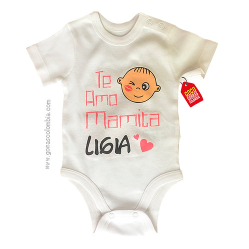 body blanco para bebe te amo mamita