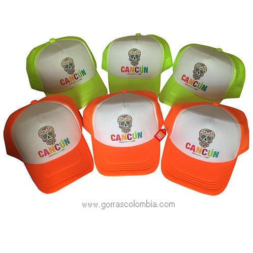 gorras verde y naranja neon frente blanco para fiesta cancun