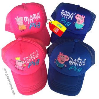 gorras azul y fucsia unicolor para familia pig
