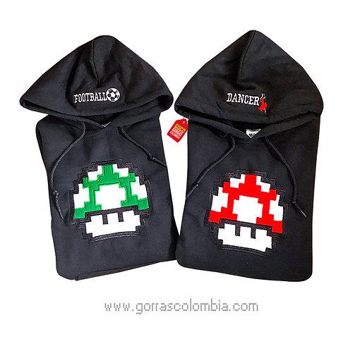 busos negros con capota para pareja honguito video juego