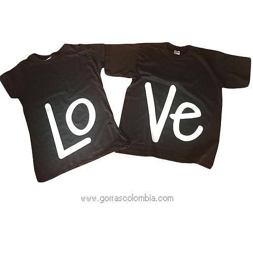 camisetas negras para pareja de love